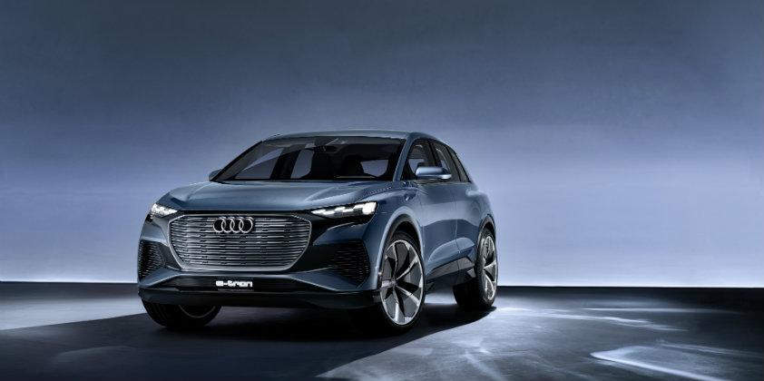 The Audi Q4 e-tron concept breaks cover at Geneva