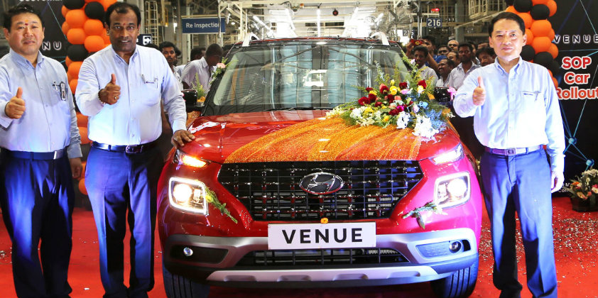 Hyundai's new compact SUV, Venue rolls out of assembly lines in India